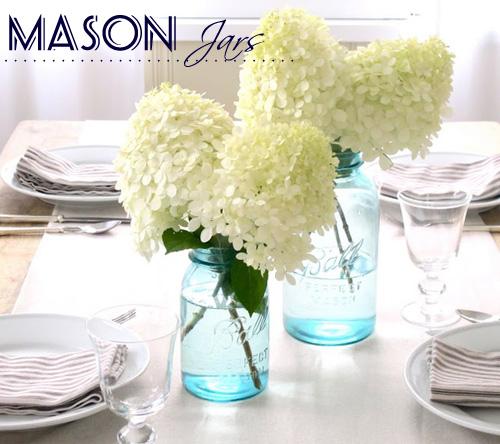 mason jars flowers