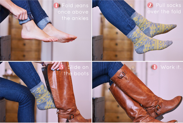 how to tuck jeans into boots