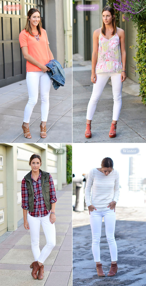How to wear white jeans in any season for White pants denim shirt