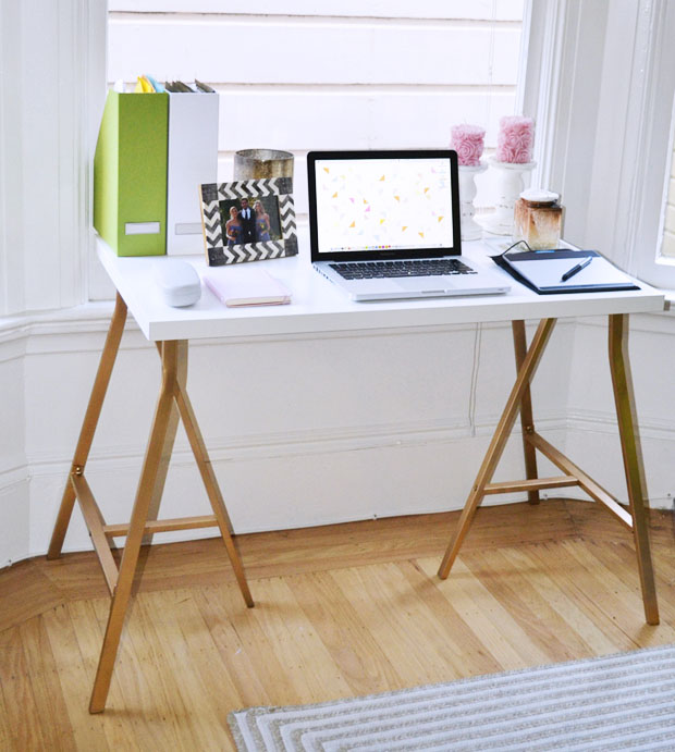 a simple ikea hack desk. Black Bedroom Furniture Sets. Home Design Ideas