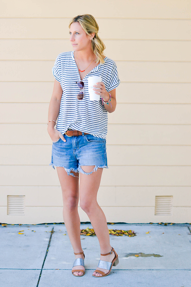 denim shorts and tees