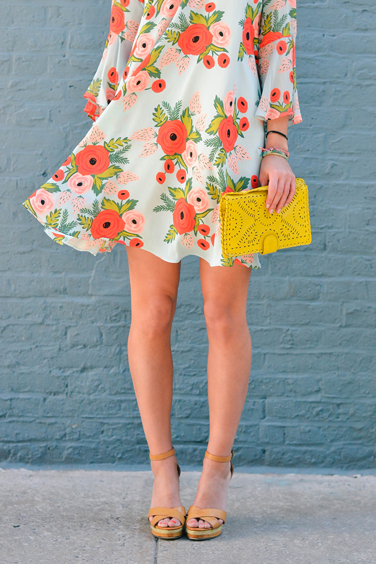 top 10 popular posts of 2015 from Advicefroma20Something.com, anthropologie dress, floral dress, date night outfit, women's fashion, spring fashion, colorful outfit ideas, nude wedges, yellow clutch, floral print