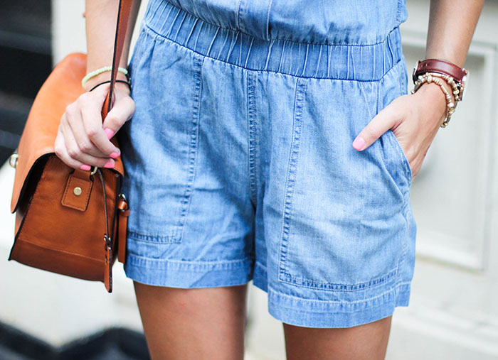 Strolling Through SoHo in a Denim Romper