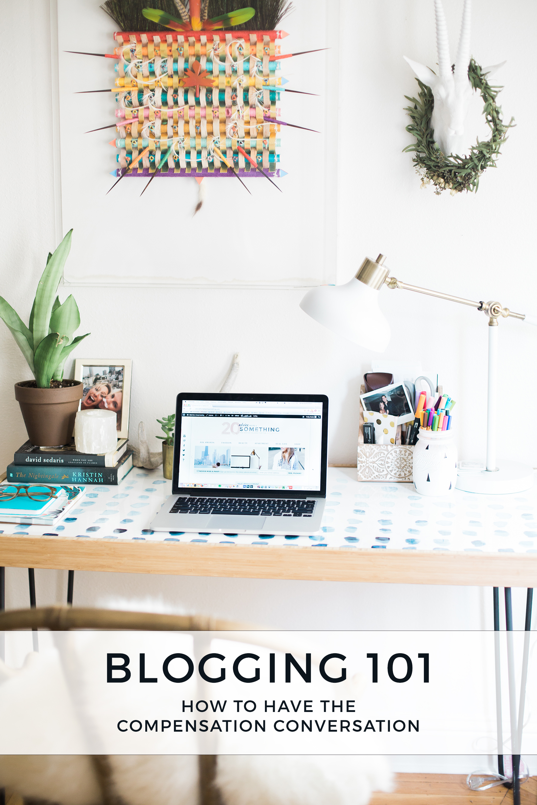 blogging 101, blogging advice, tips for new bloggers, blog compensation, blogger compensation, blog campaigns, blogs and brands, boho desk, desk decor, bright and white, deny designs desk, target lamp, white lamp, computer on desk, stylish desk, stylish home office, office space, bohemian decor, photography by Andrea Posadas for Advicefroma20Something.com