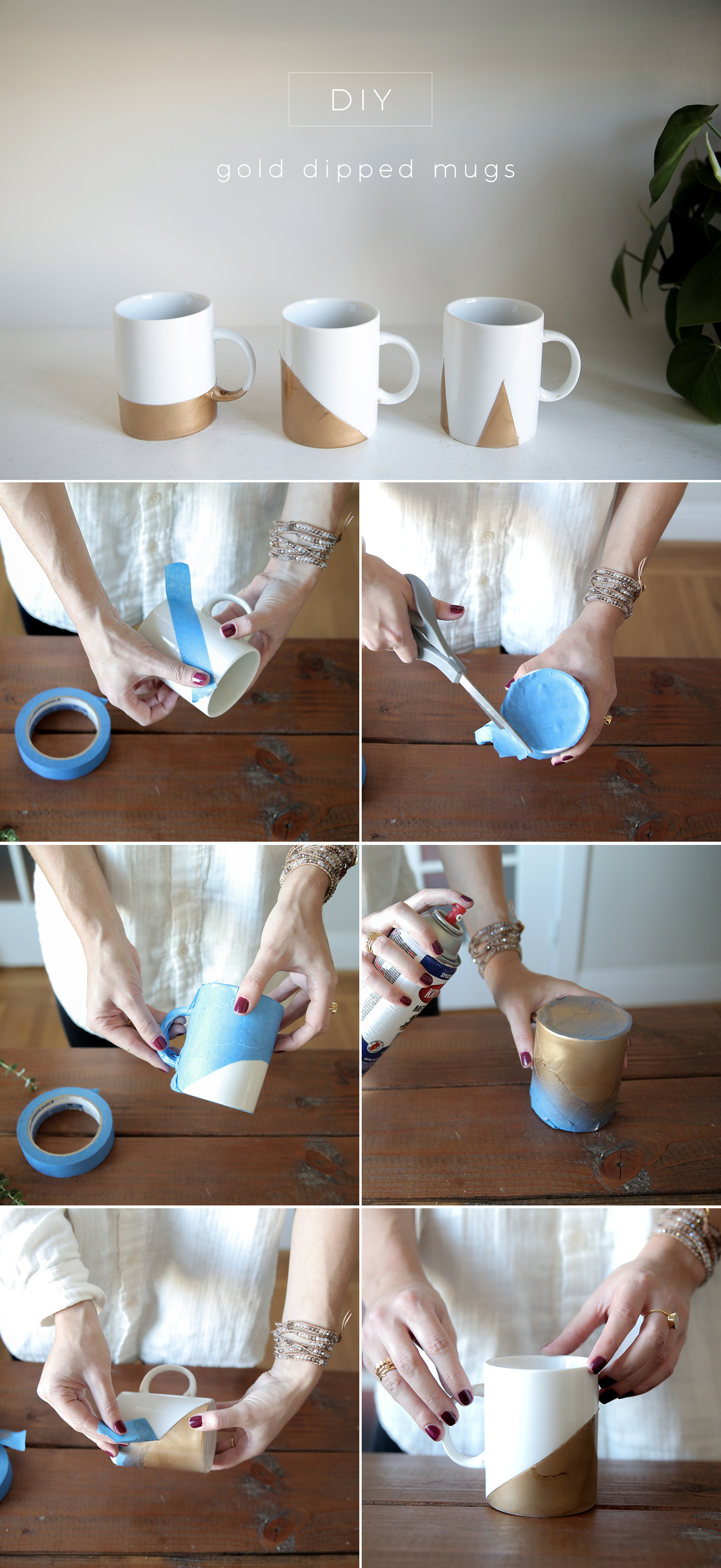 Gold Dipped Mugs Tutorial, Diy Gift Idea, Step By Step Tutorial, Pictures