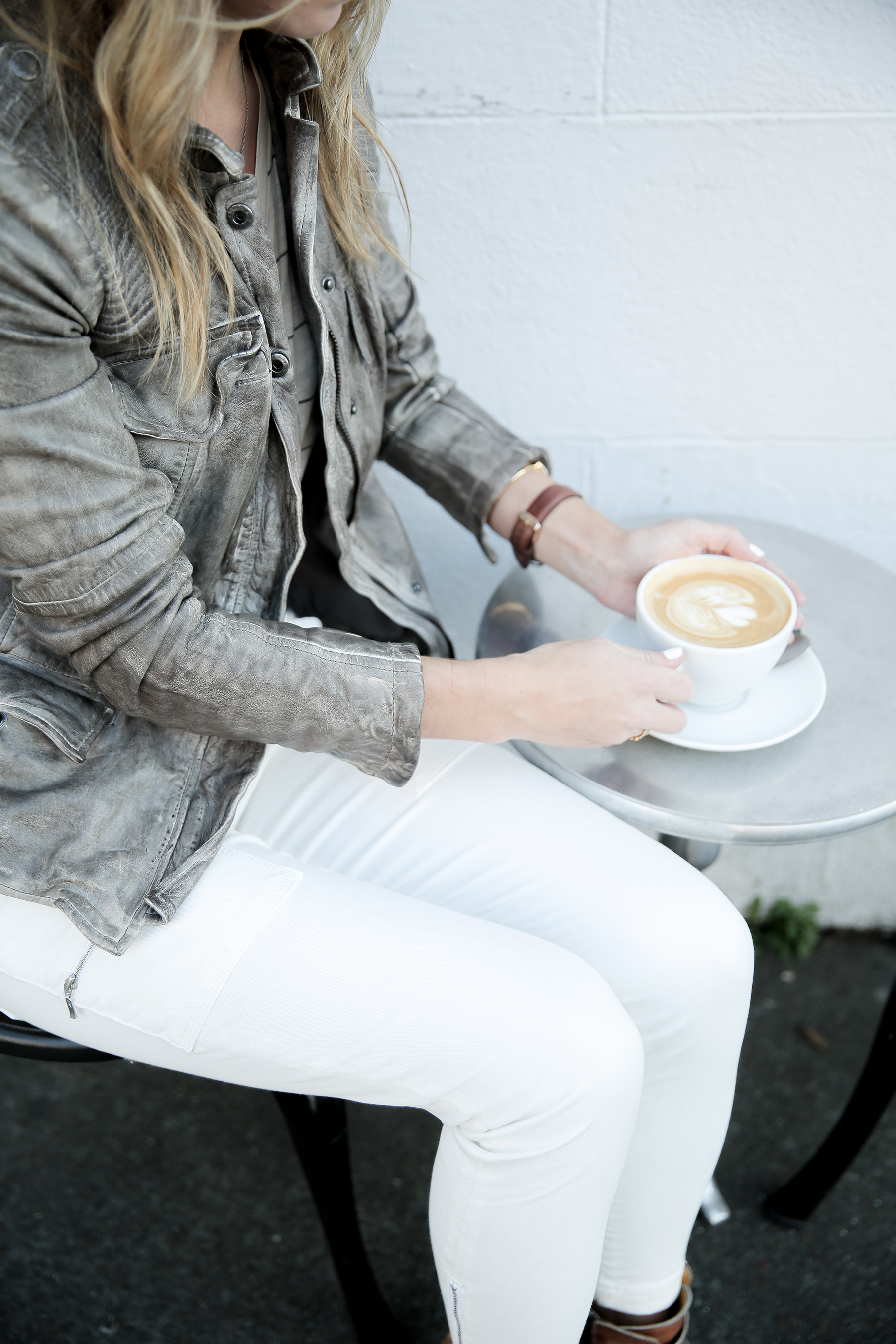 white jeans fall leather