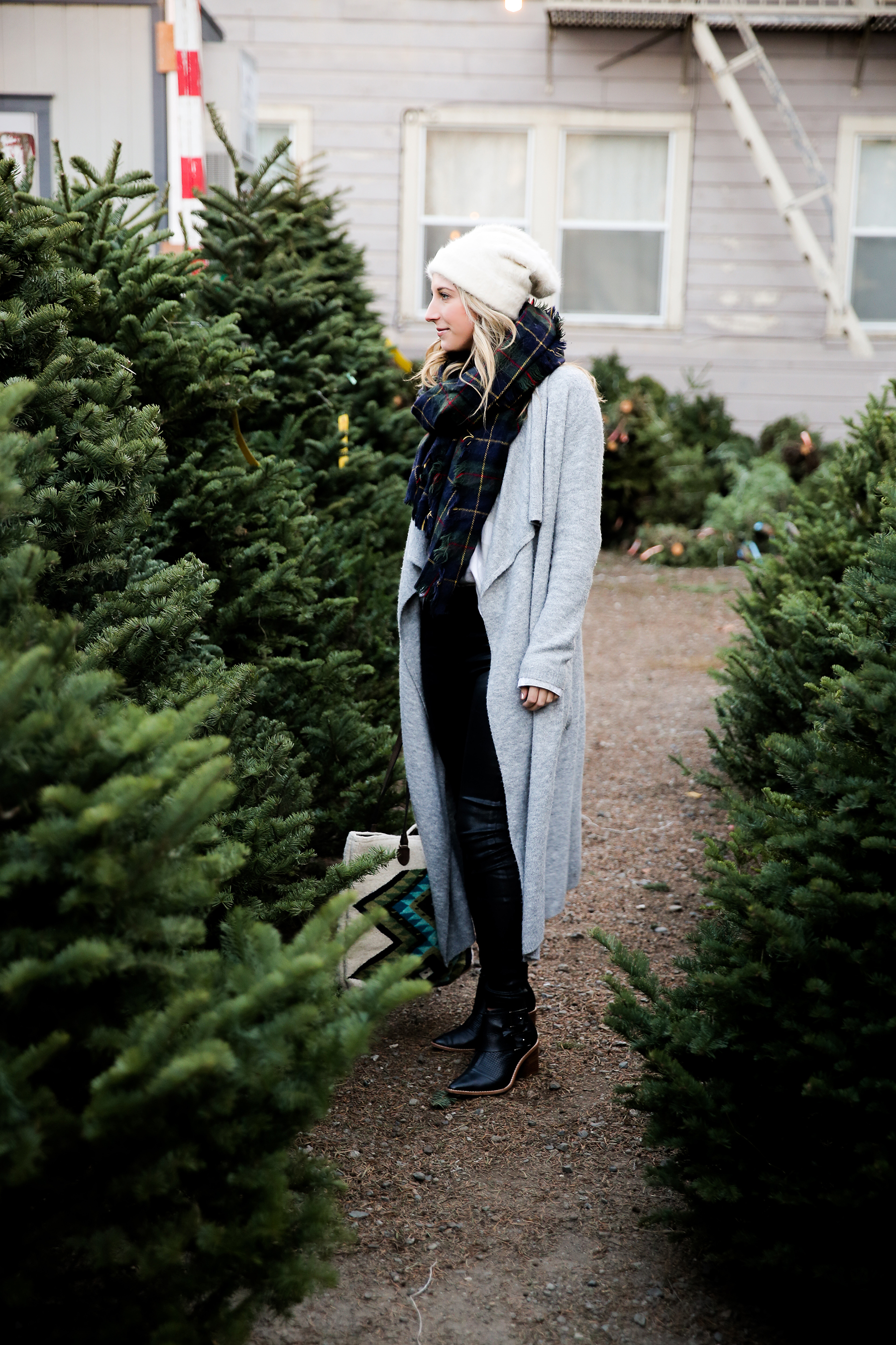 Christmas Tree Lot Outfit Holiday Plaid Scarf Gray Cardigan