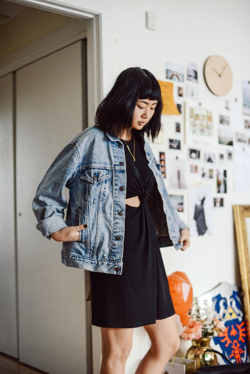 urban outfitters blog, advice on feeling restless, denim jacket, edgy haircut, bangs, lob, long bob, image featured on Advicefroma20Something.com