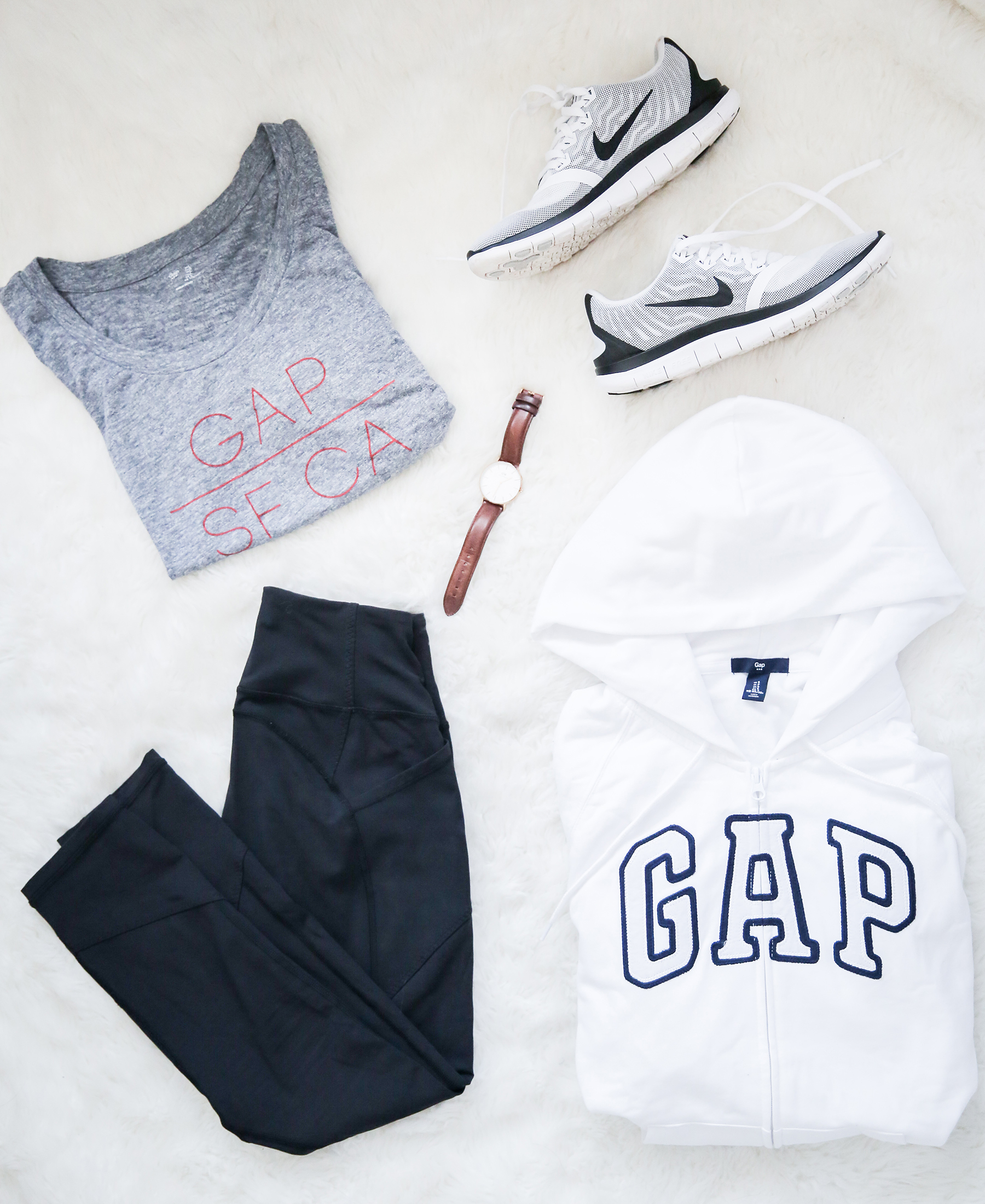 gap logo, gap factory, athleisure, stylish workout wear, stylish leisure wear, stylish lounge wear, cozy casual outfit, gray t-shirt, white zip-up, black leggings outfit, photography by Andrea Posadas of Amanda Holstein for Advicefroma20Something.com