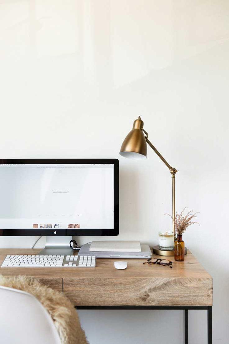 wood desk, desk vignette, office space, home office, stylish desk accessories, gold desk lamp, gold lamp, wooden desk, minimal, minimalist style, lark & linen, career advice, blogging 101, blogging advice, via Advicefroma20Something.com