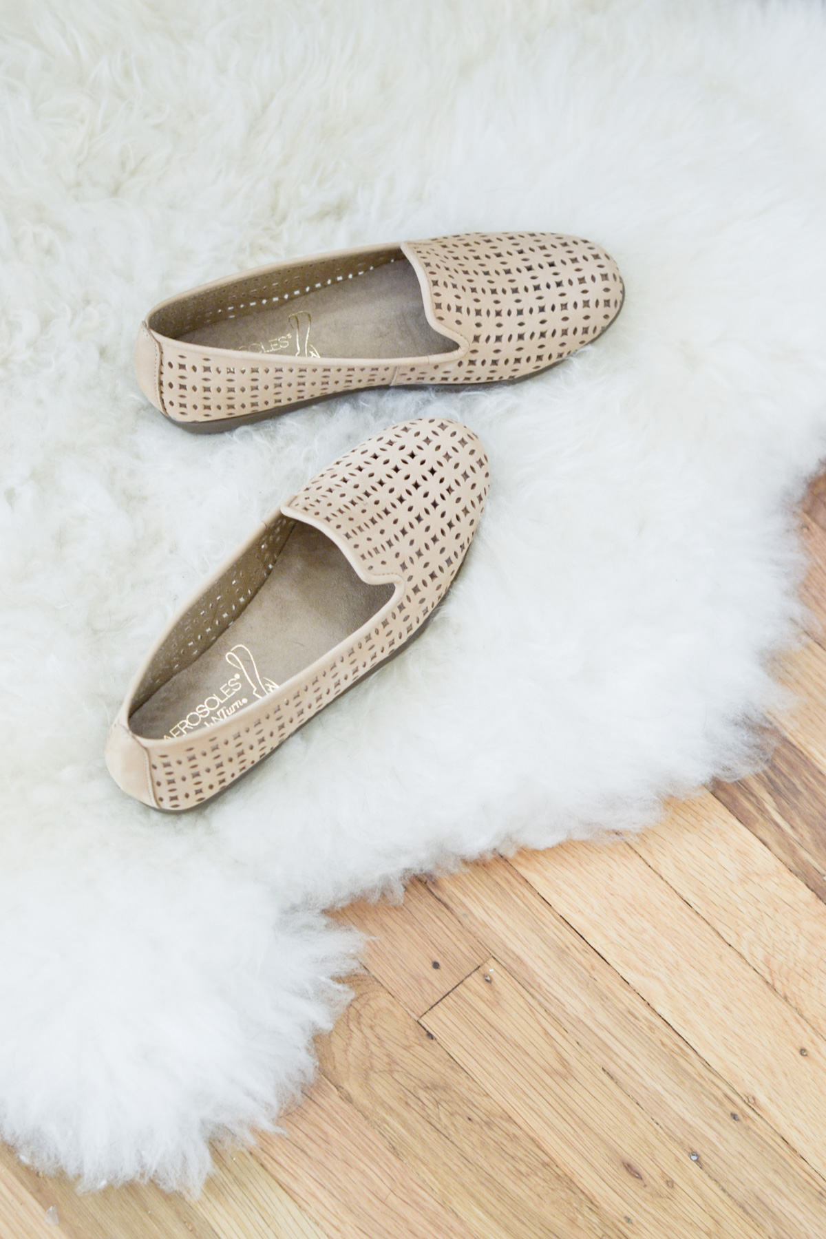 aerosoles nude loafer perforated flats
