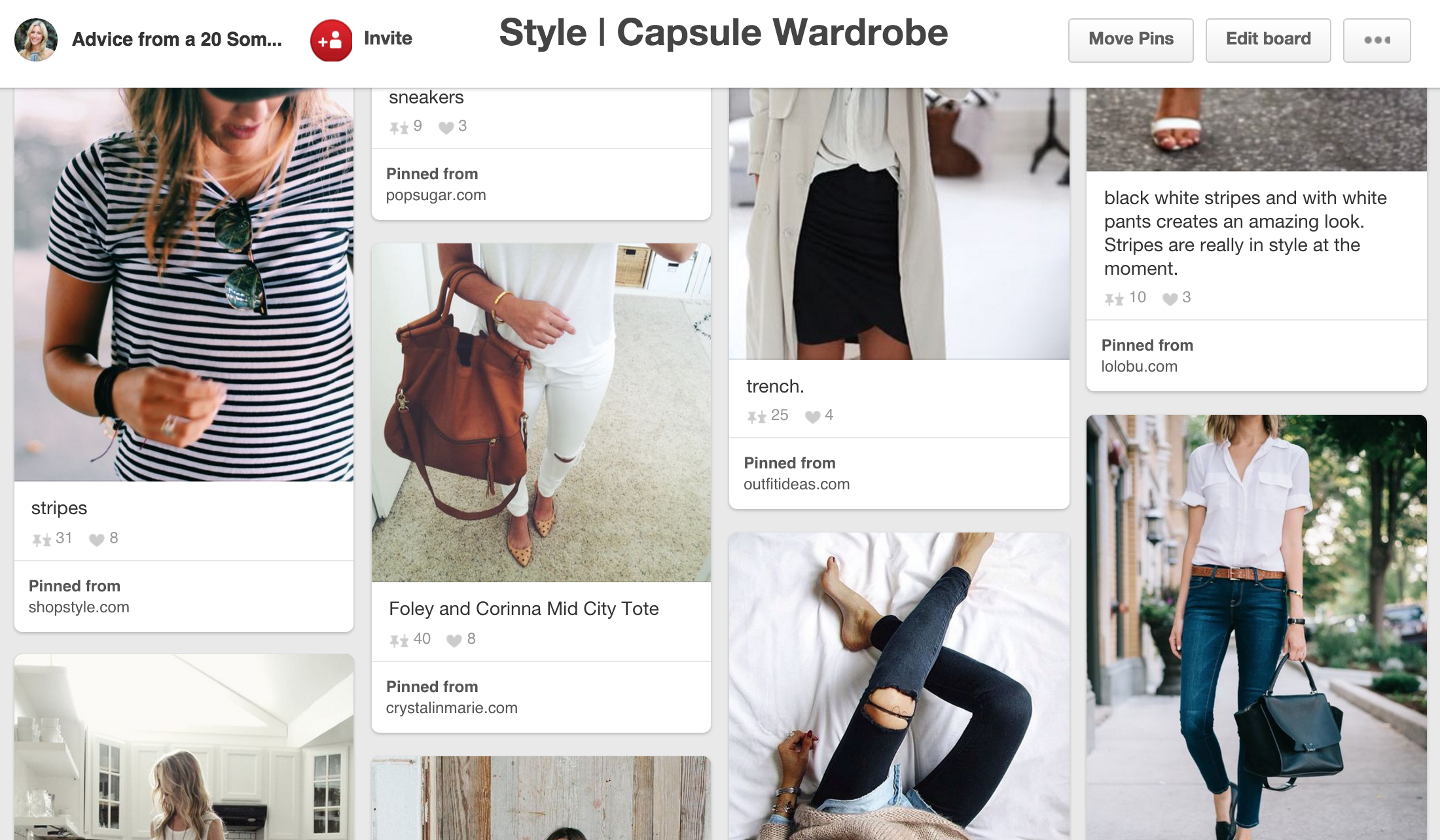 screen shot of capsule wardrobe pinterest board