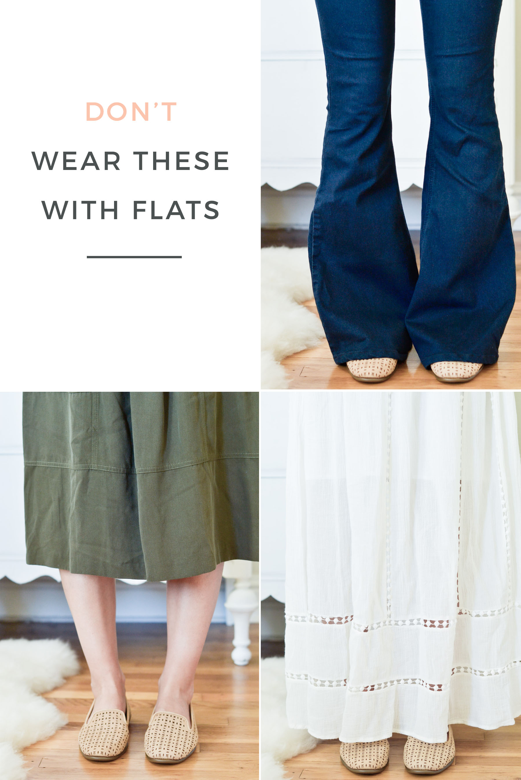 what not to wear with flats, including flare or wide-leg jeans, midi skirts, and maxi skirts