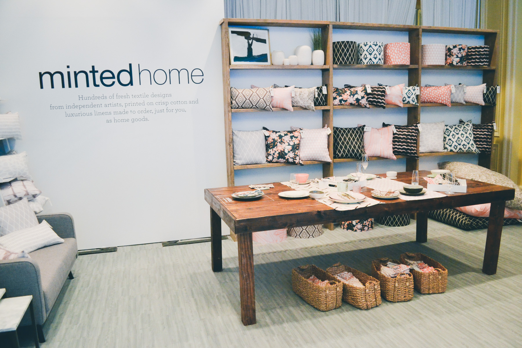 Minted Home pillows display room at Alt Summit 2016