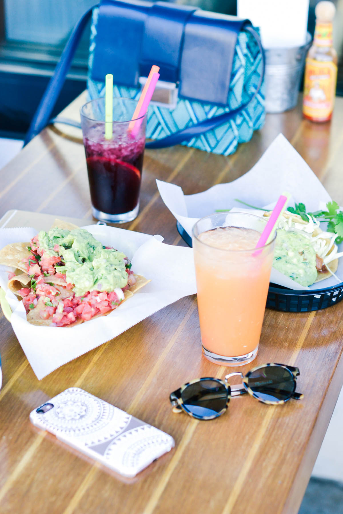 colorful drinks and lunch at tacko mexican restaurant in san francisco