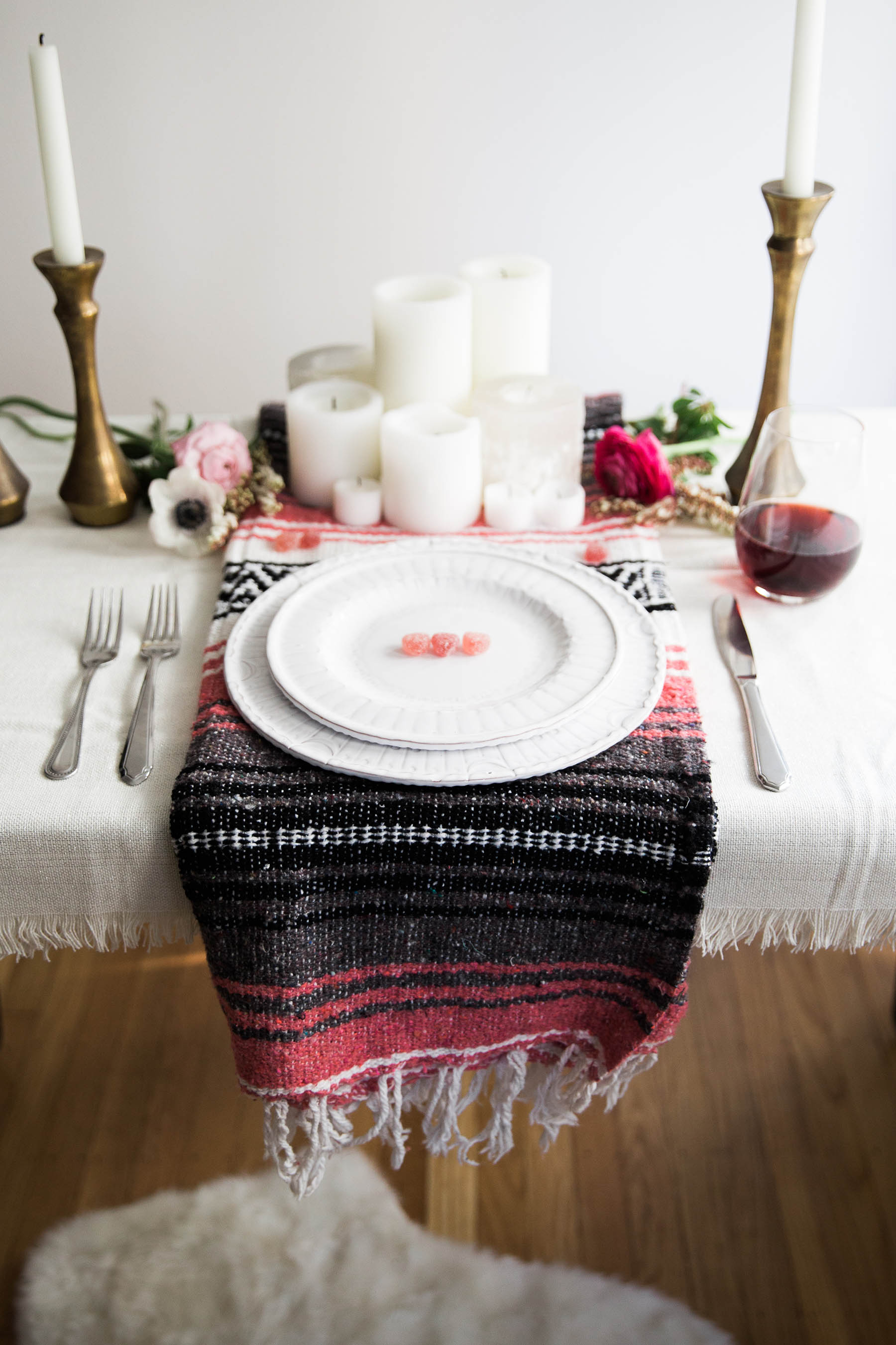 bohemian tablescape for Valentine's Day dinner