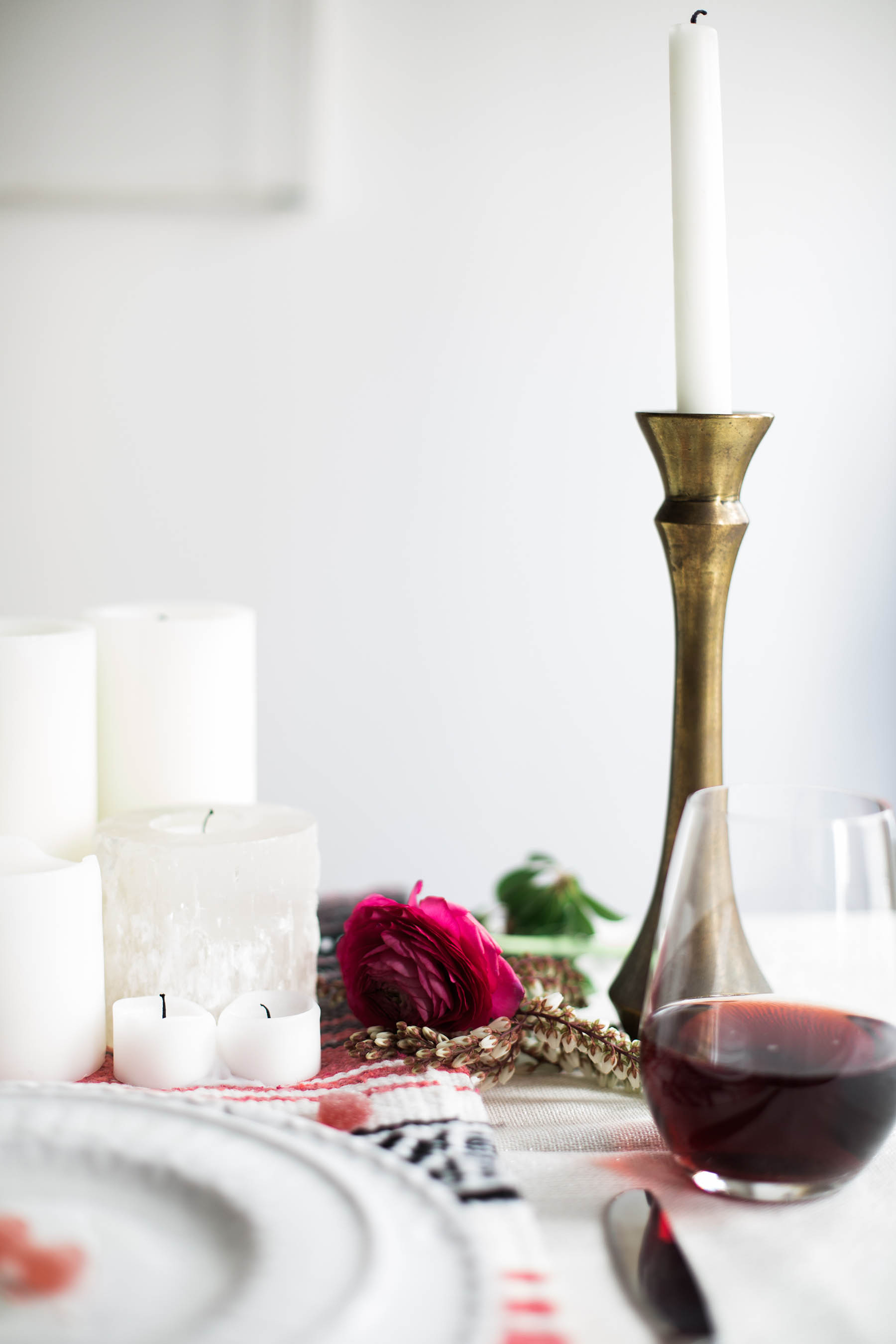 bohemian tablescape for Valentine's Day dinner with candles