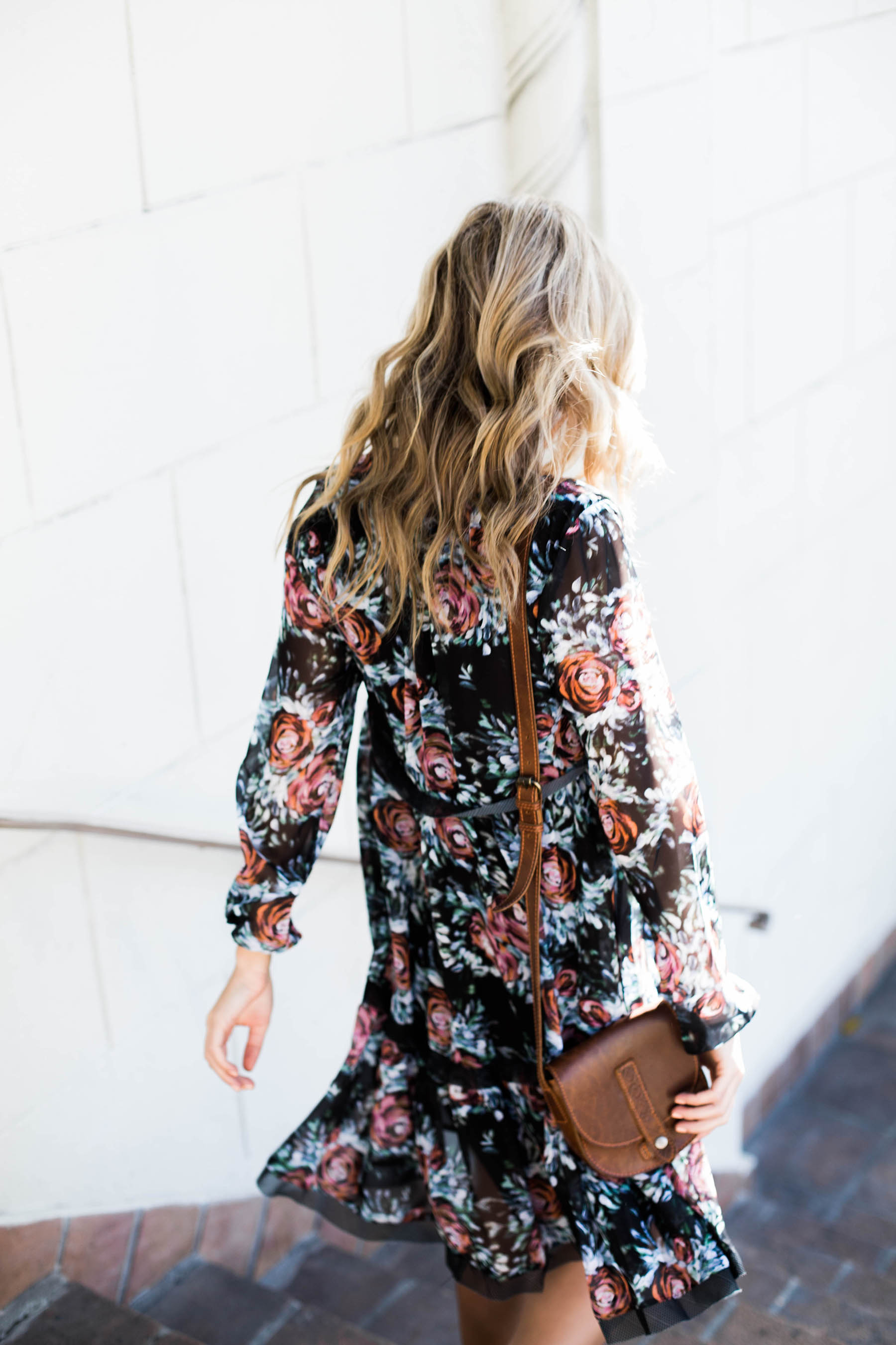Amanda Holstein in anthropologie floral swing dress and Urban Outfitters crossbody bag