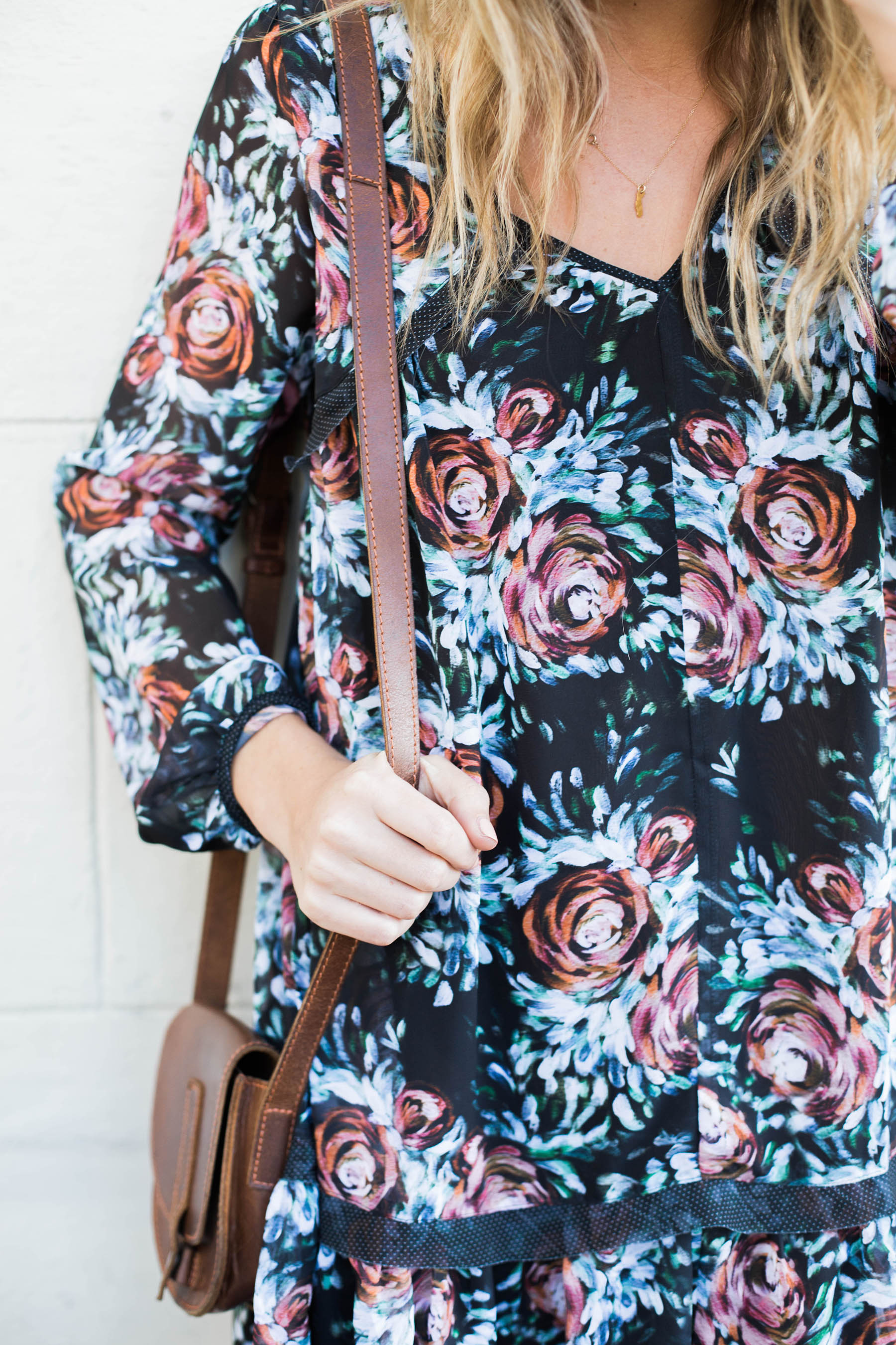 dark floral swing dress from Anthropologie and Urban Outfitters crossbody bag