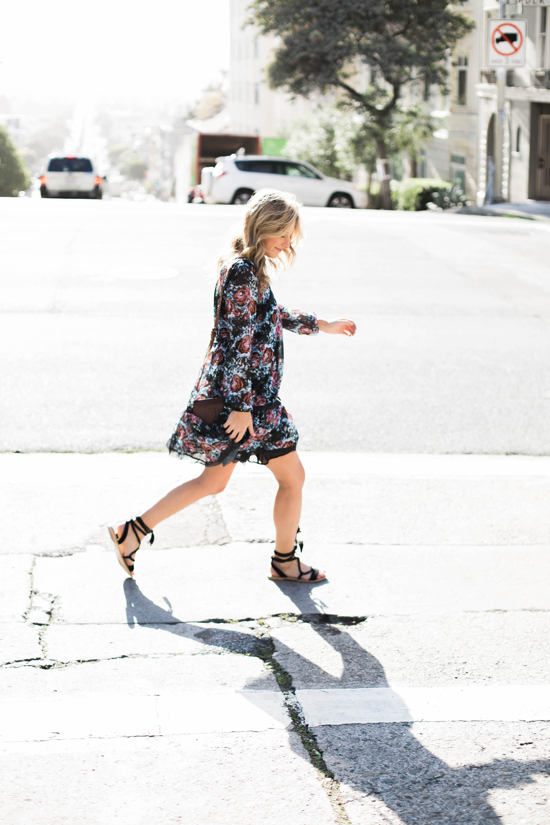 Amanda Holstein in anthropologie floral swing dress