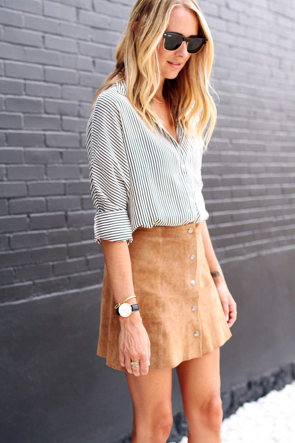 roll sleeves, striped blouse and suede skirt