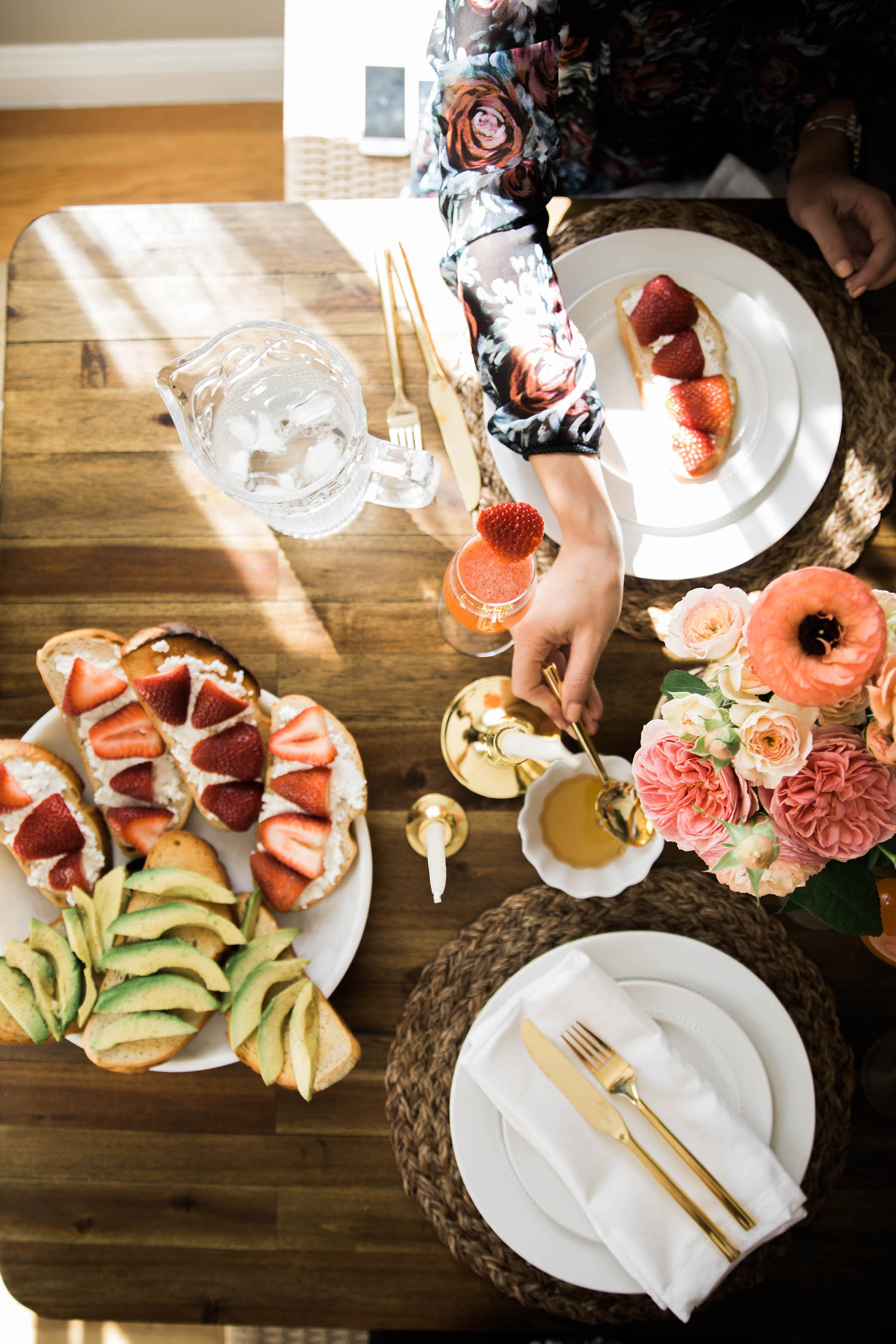 spring brunch setting with avocado toast and ricotta toast