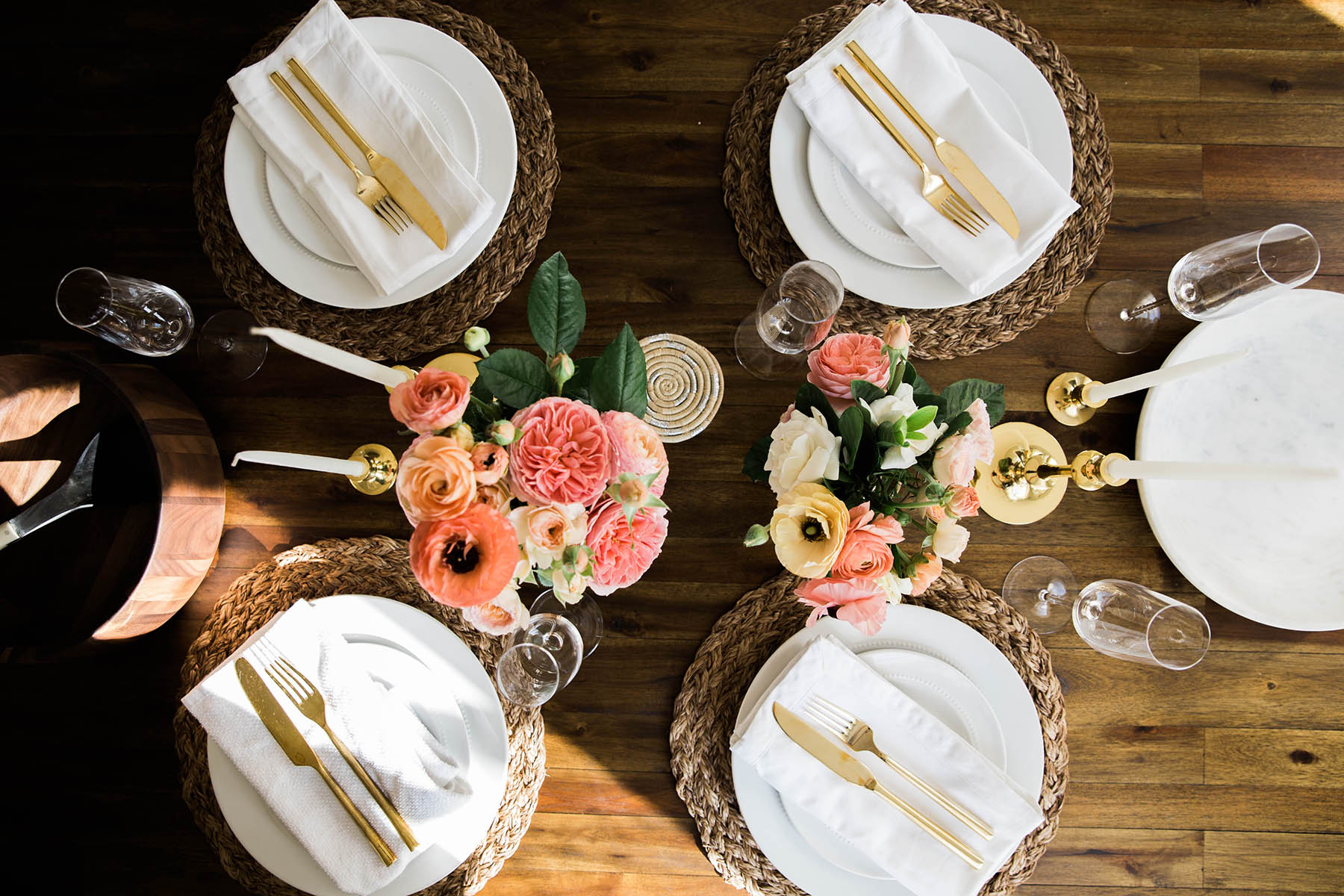 white, gold, neutral table setting with pink flowers for spring brunch