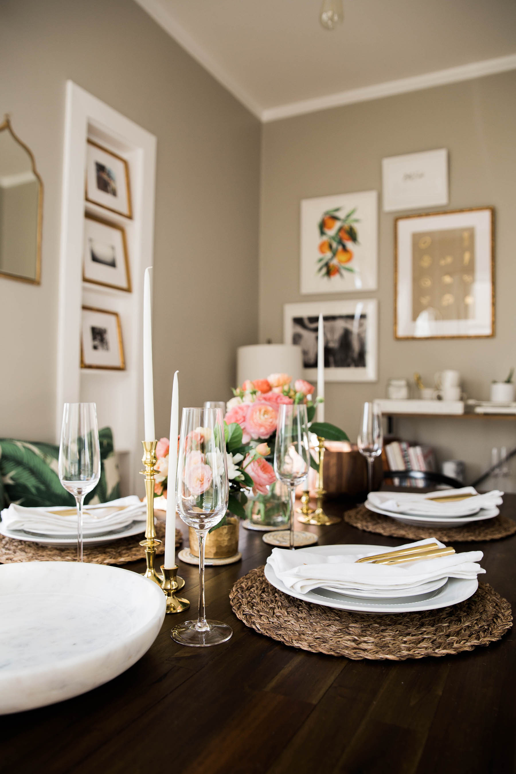 white, gold, and pink spring brunch at Ashley Kane's apartment