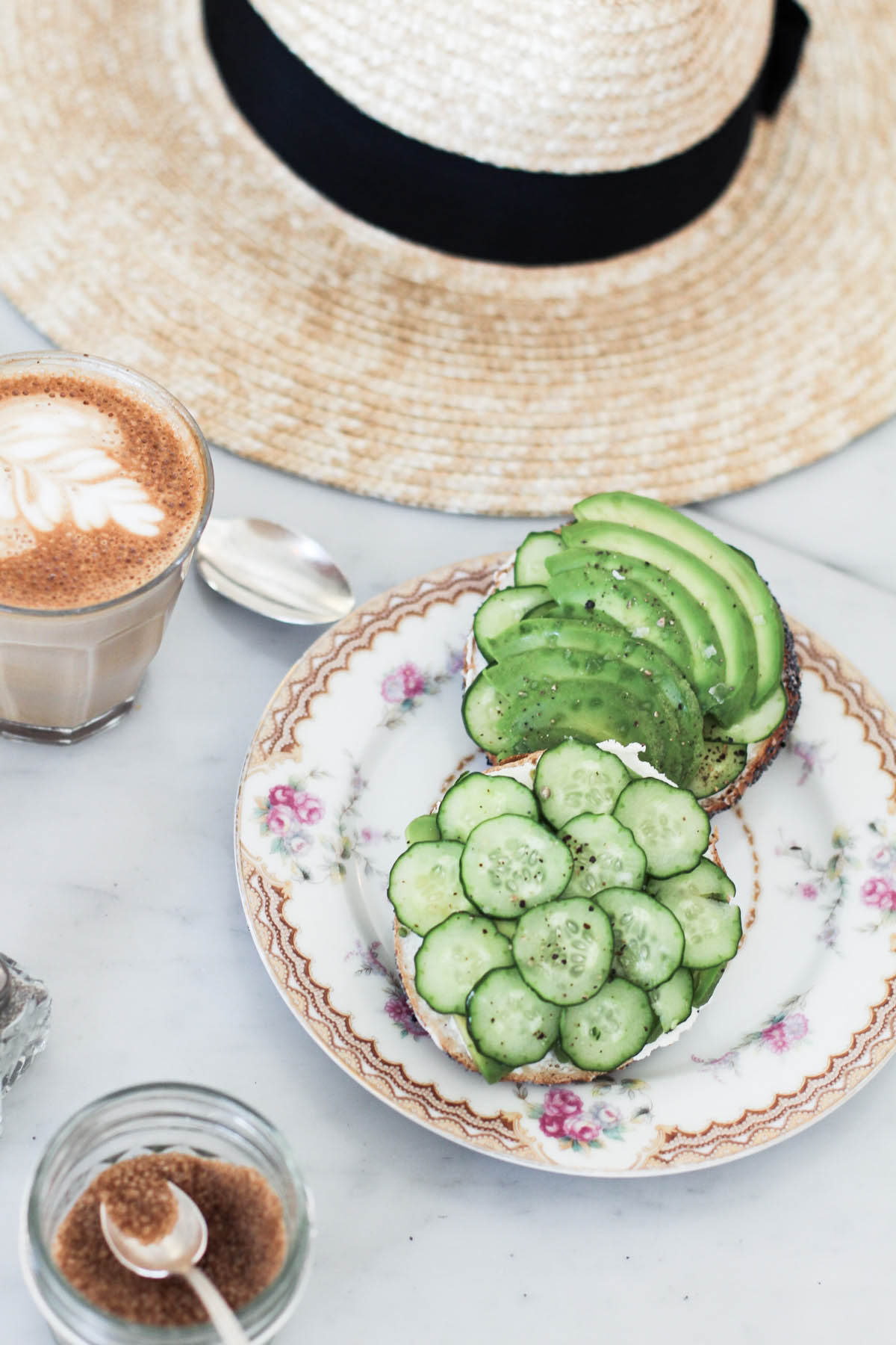 latte and cucumber avocado bagel at 20th century cafe san francisco