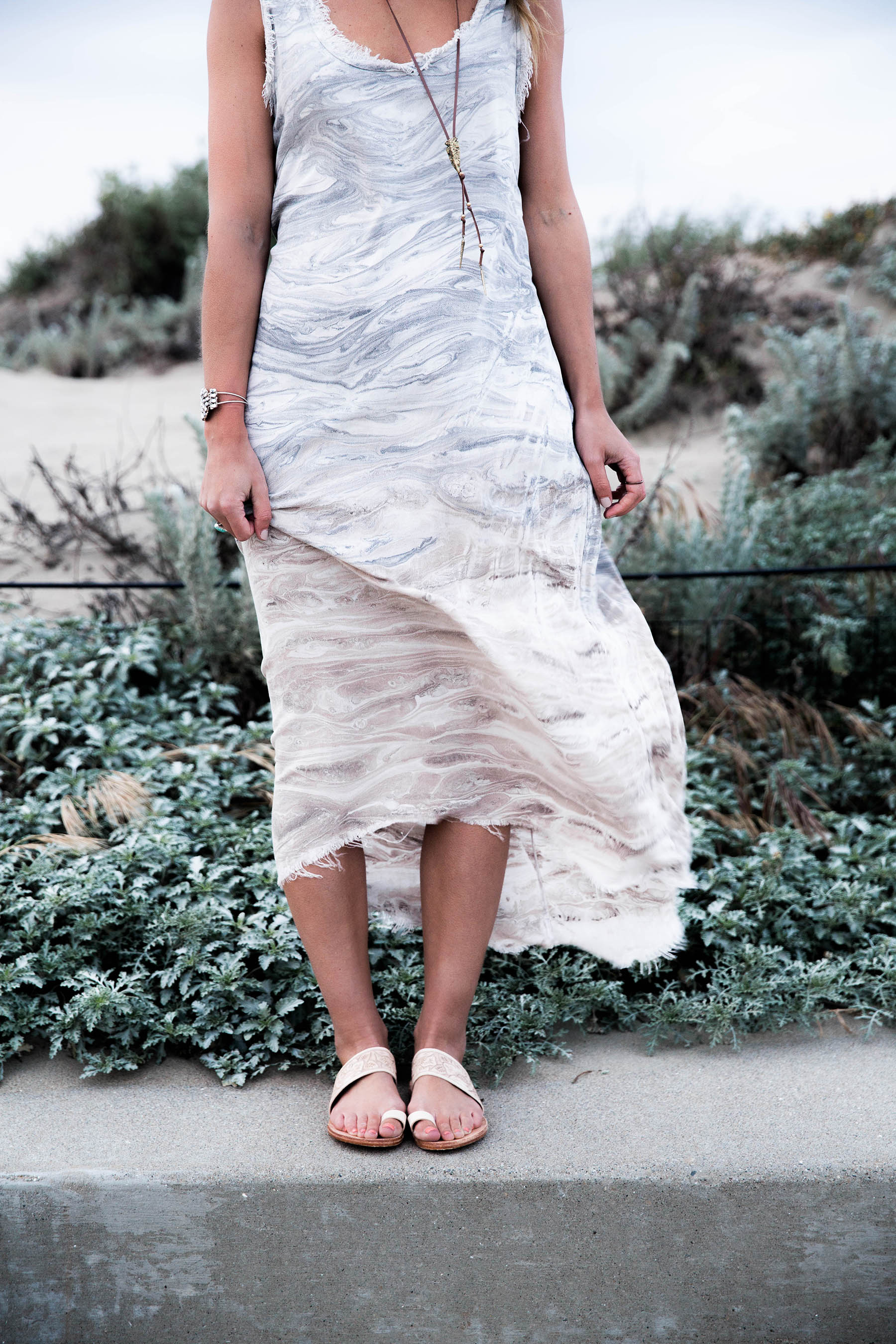 mono b taupe marble print maxi dress and beek finch sandals
