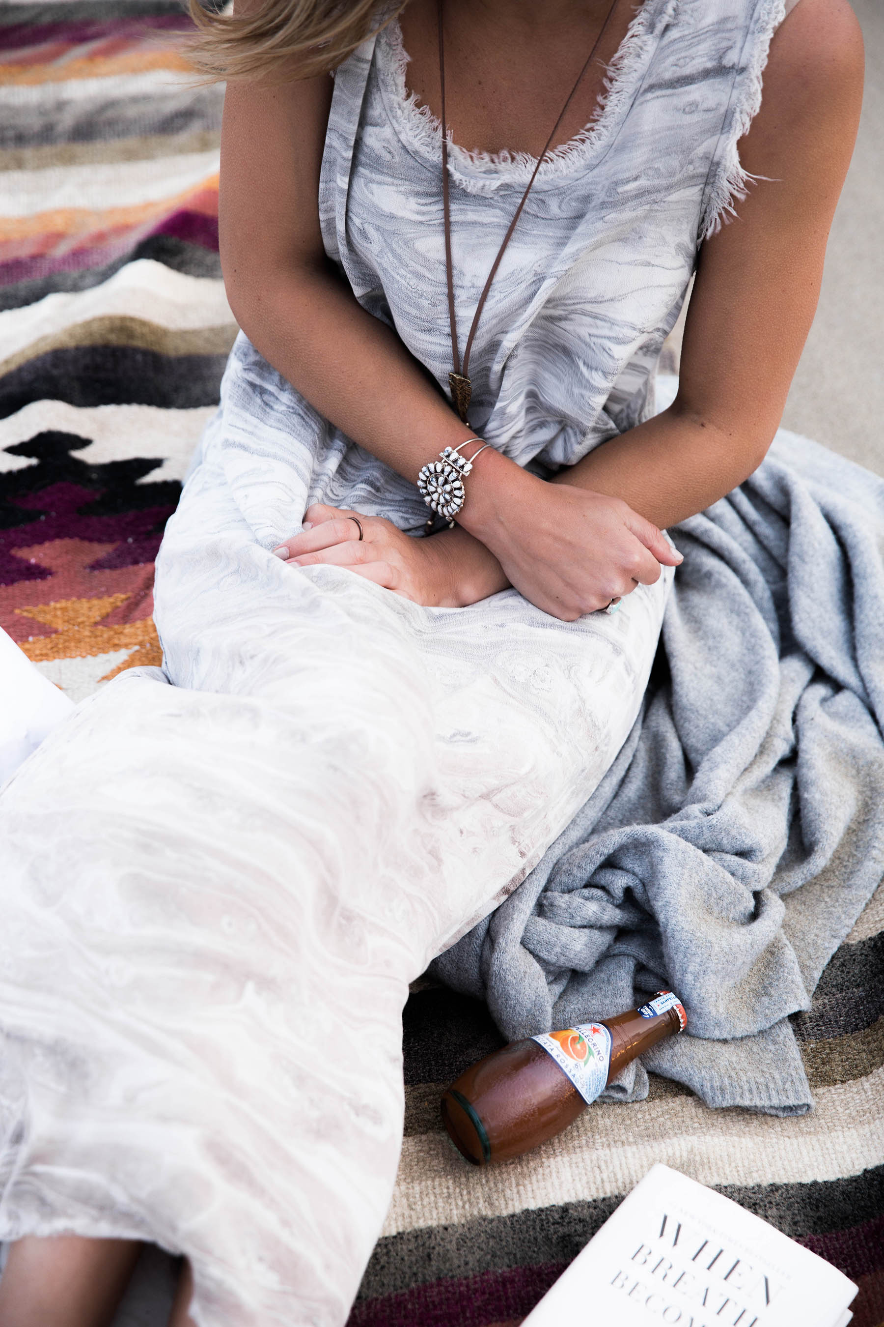 mono b taupe marble print maxi dress and southwestern jewelry for boho vibe