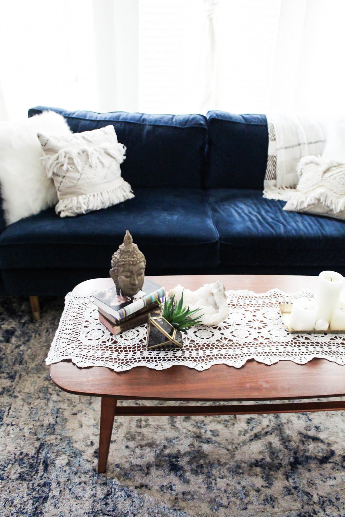 boho coffee table styling with Urban Outfitters furniture