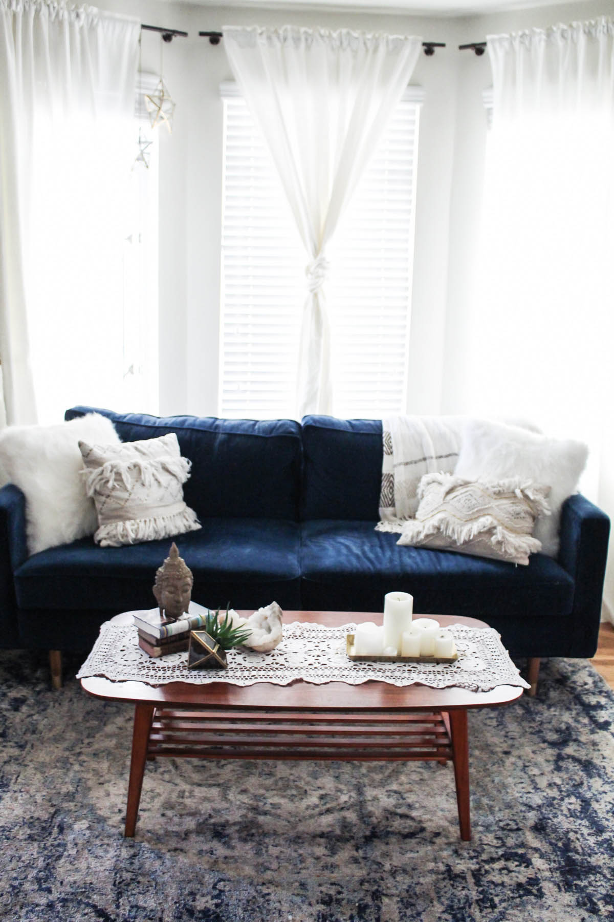 Urban Outfitters coffee table with boho decor