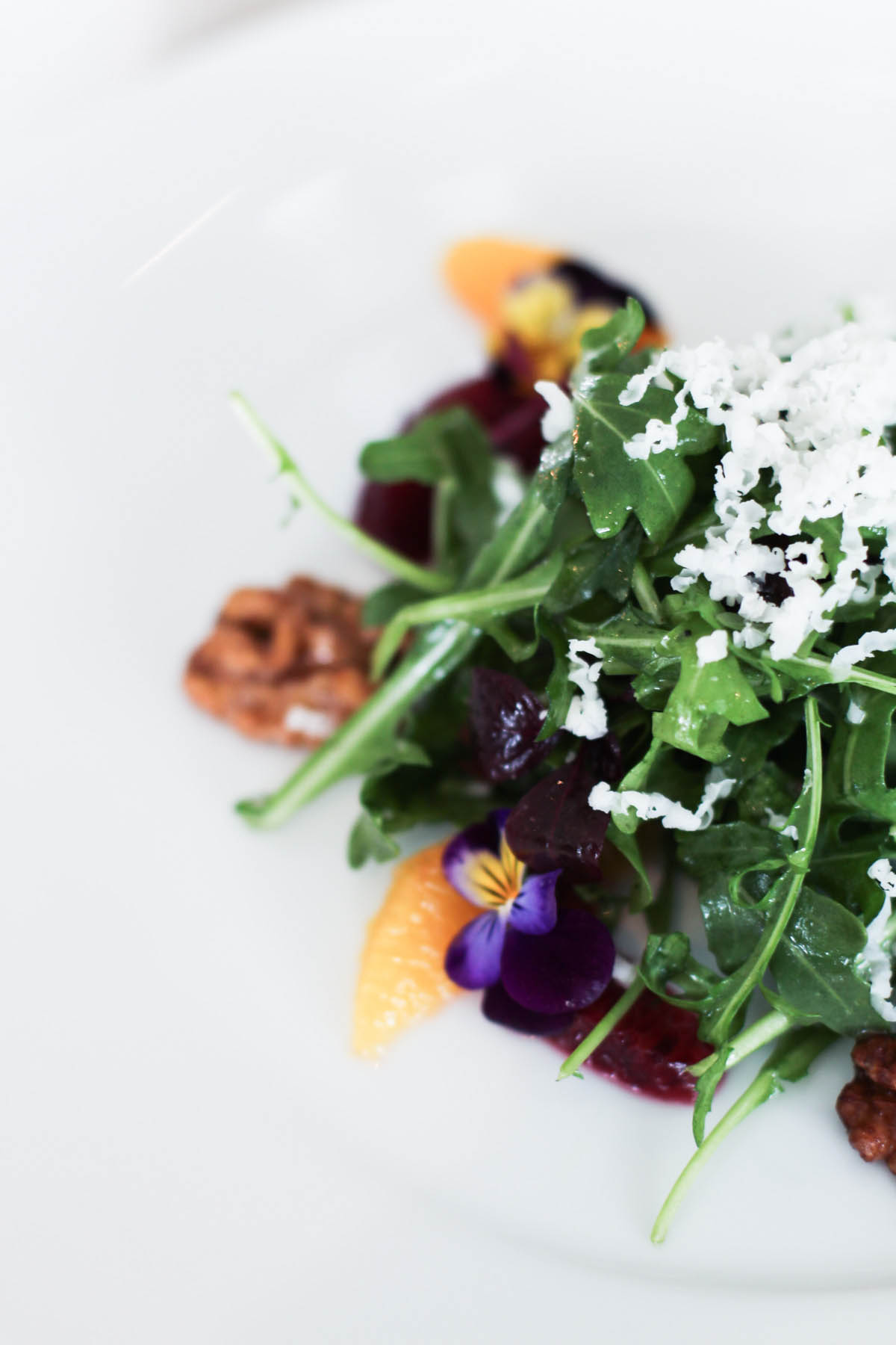 colorful salad with edible flowers