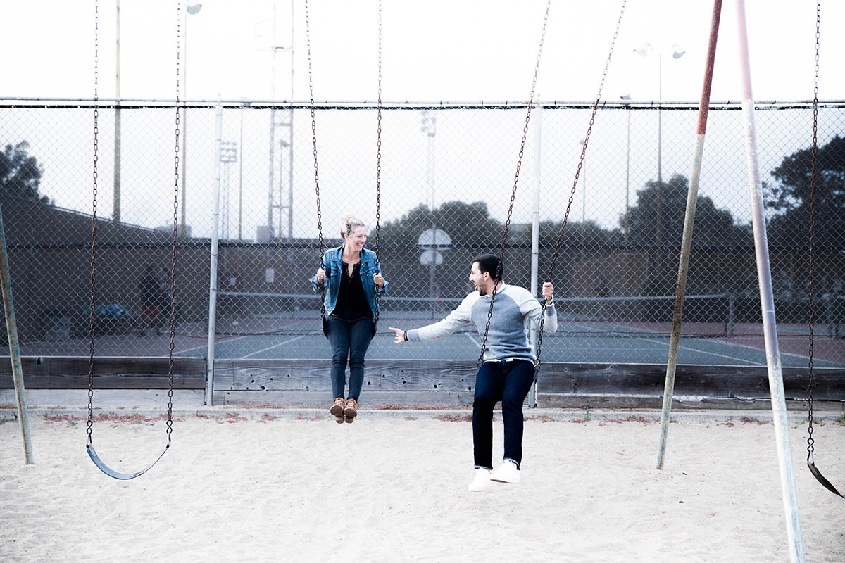 affordable date idesa from Amanda Holstein young couple on the swings