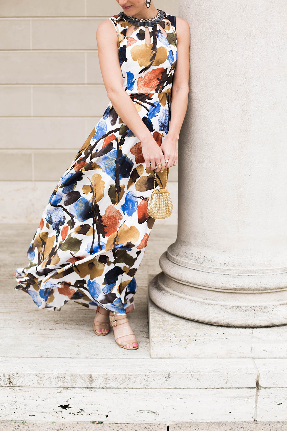 Anthropologie floral maxi dress for a black tie wedding at the Legion of Honor
