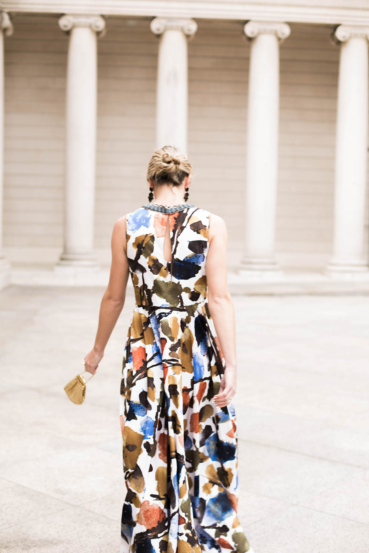 black tie wedding attire floral maxi dress from Anthropologie