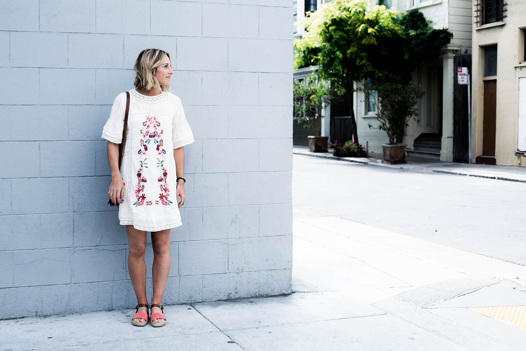 Amanda Holstein in free people summer dress and aerosoles sandals