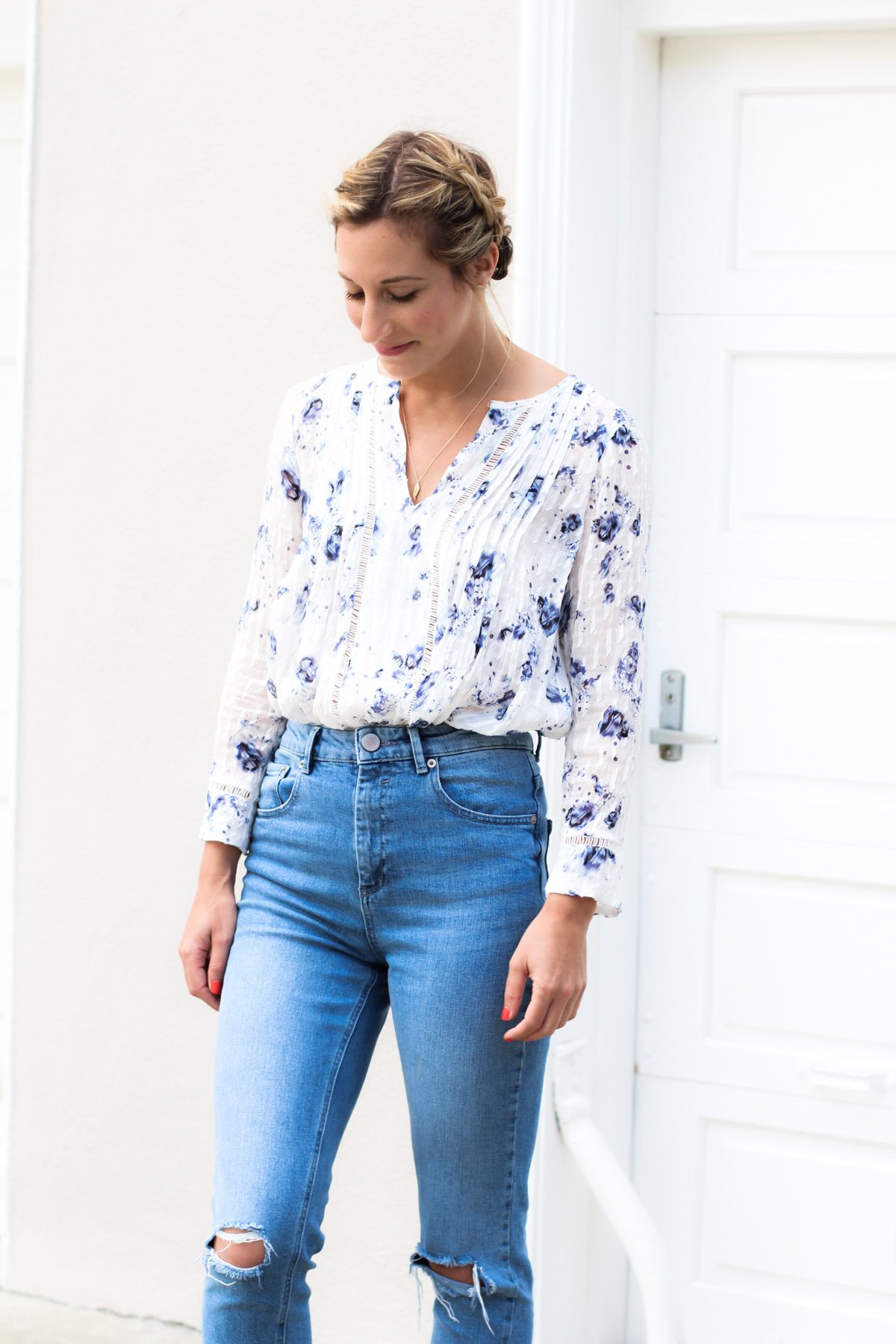 asos mom jeans and rebecca taylor floral print top