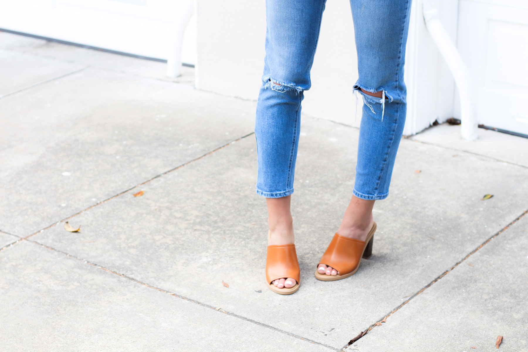 old navy tan mules