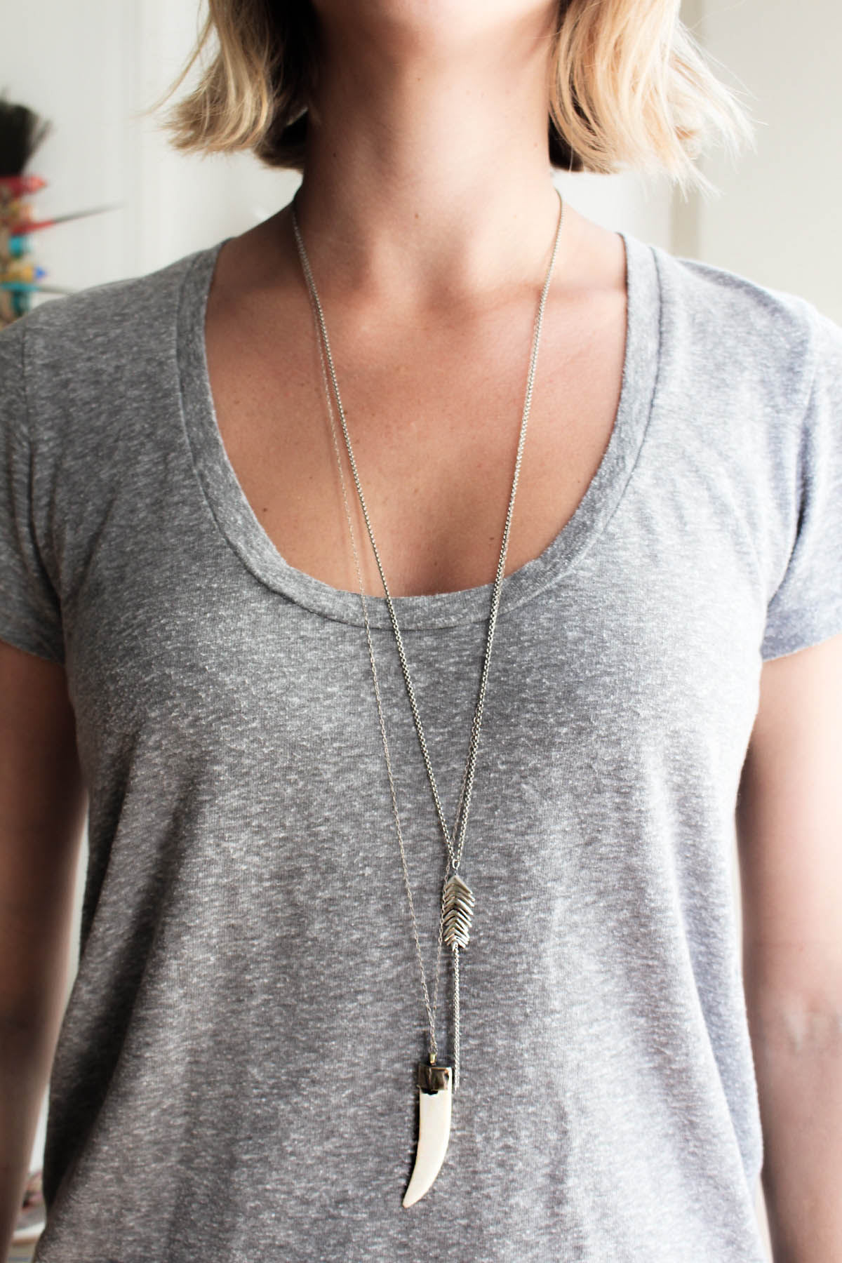 how to layer necklaces with two long pendant necklaces