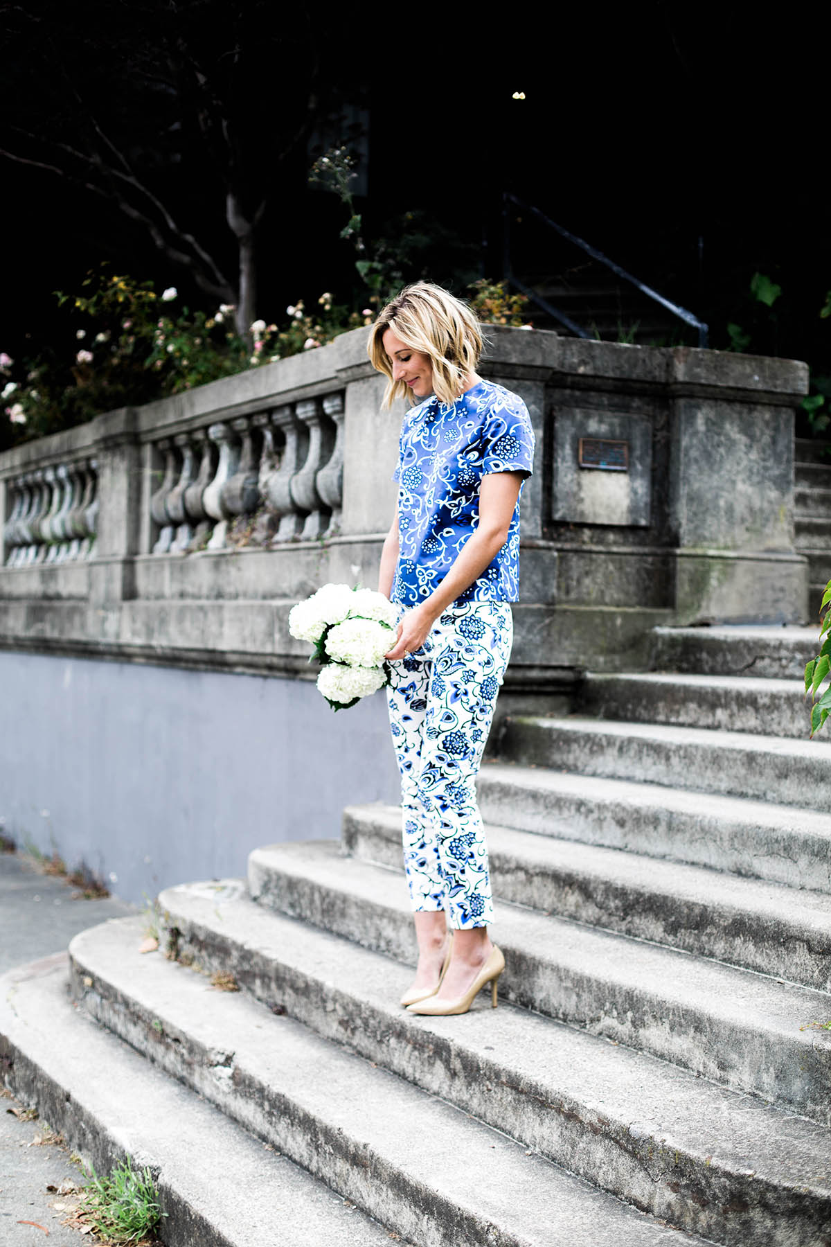 Amanda Holstein in Draper James Oak Hill Vine top and pants mixed prints outfit