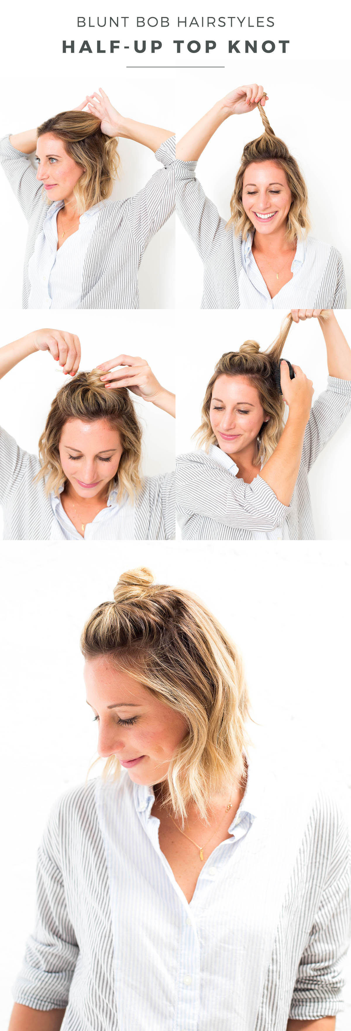 blunt bob half-up top knot hair tutorial