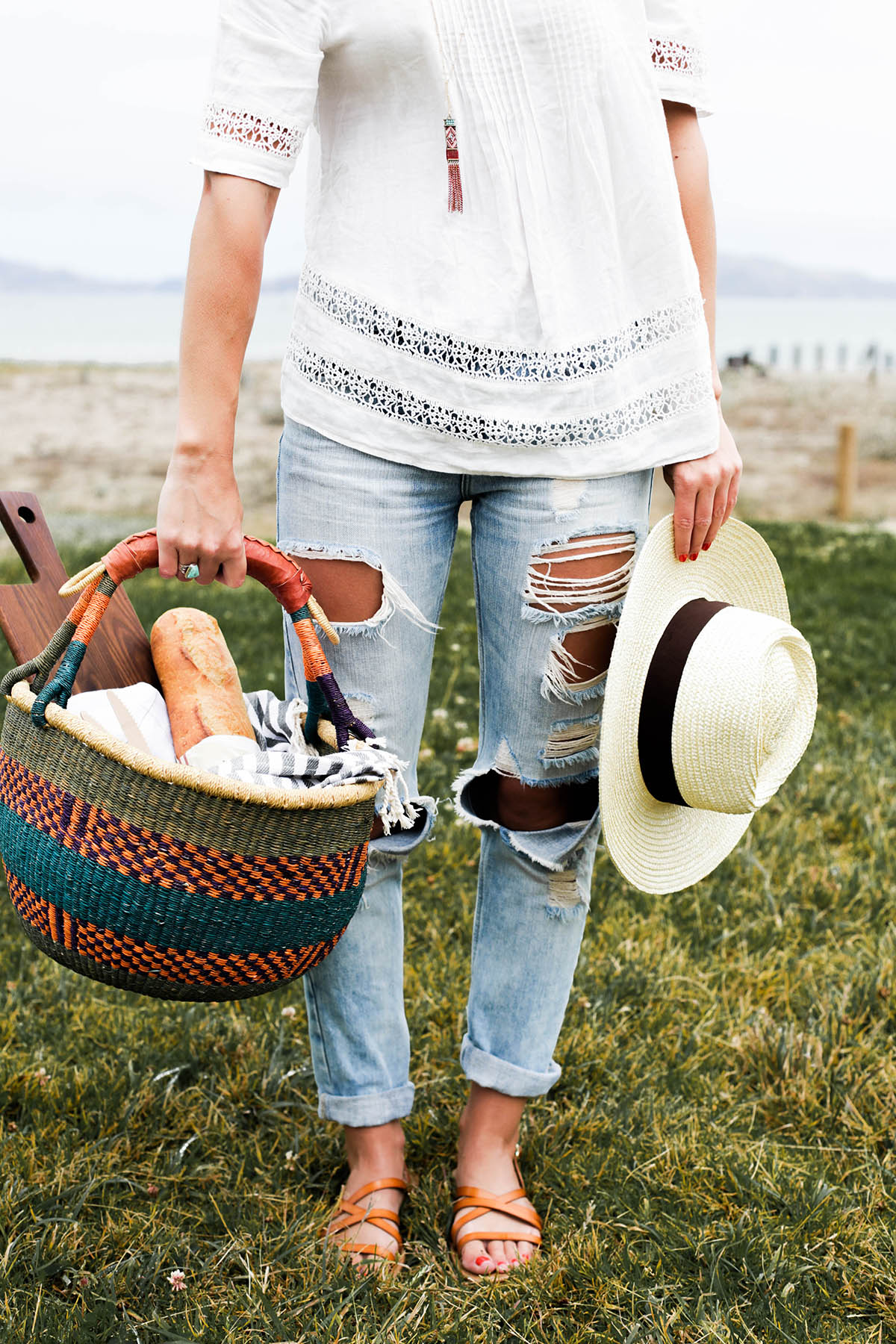 picnic basket with all the essentials for summer picnic at Crissy Field