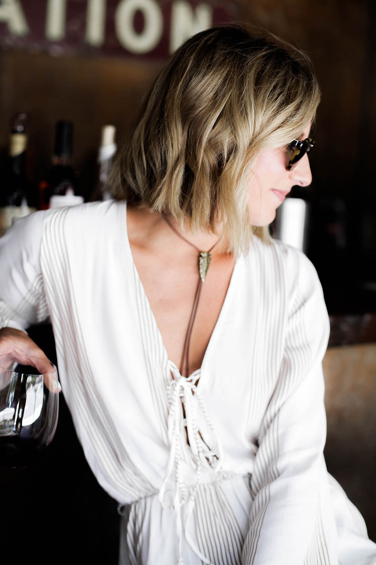 wine tasting outfit faithfull the brand romper at tank garage winery