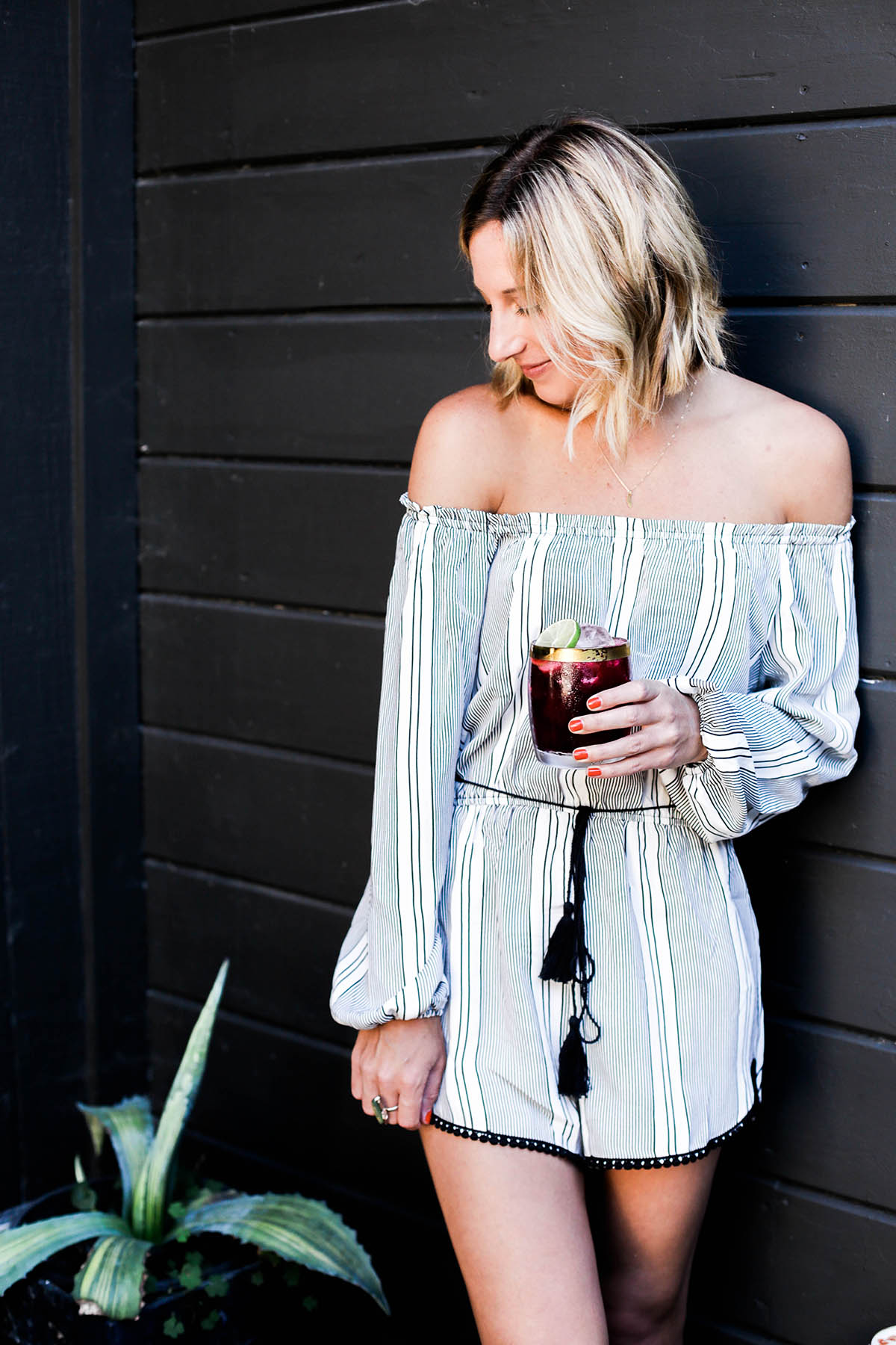 Amanda Holstein in Urban Outfitters off the shoulder romper