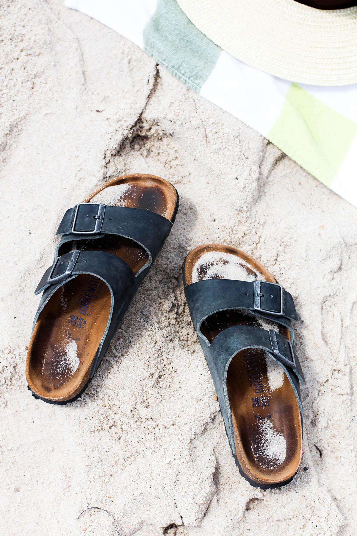 navy blue birkenstock sandals in summer