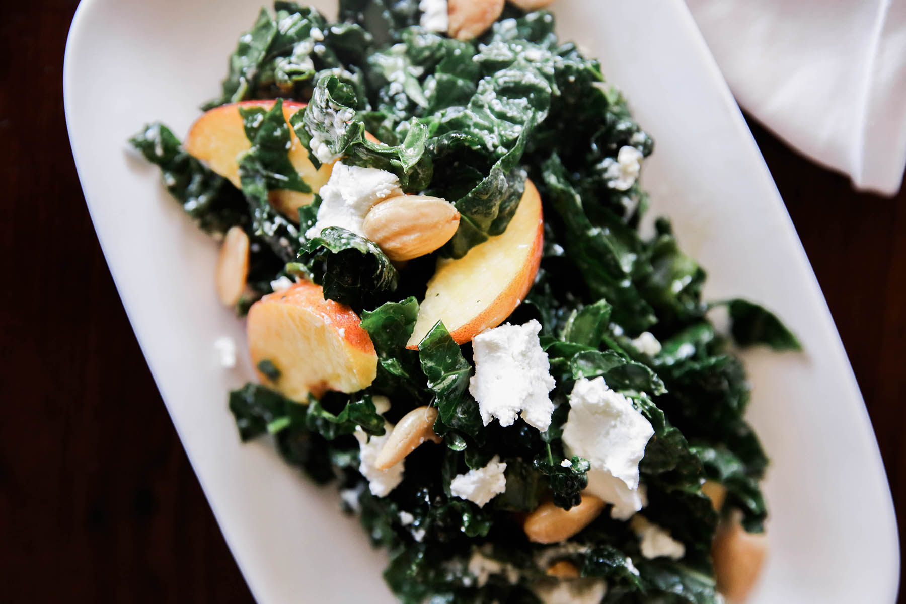 kale and stone fruit salad at Guerneville restaurants boon eat + drink