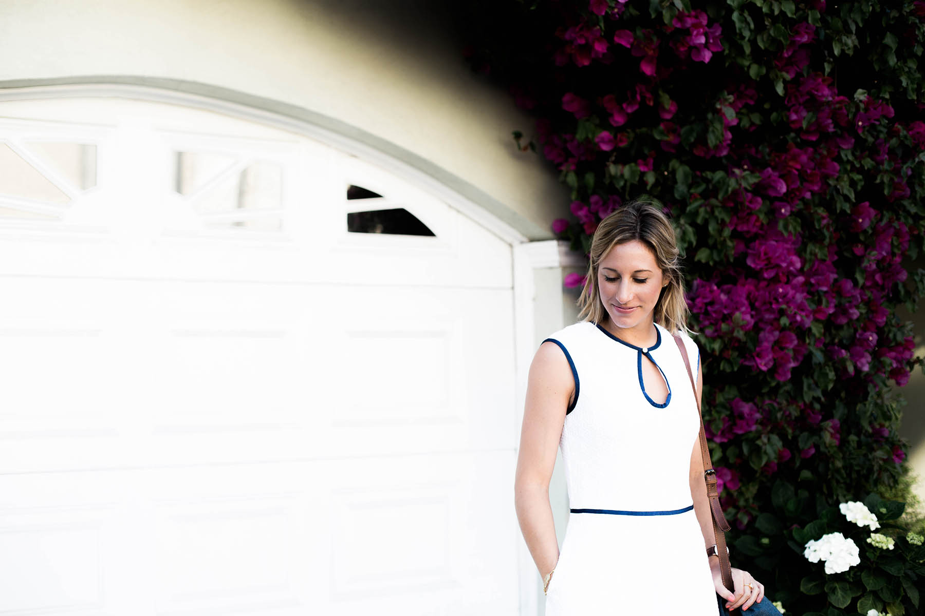 Amanda Holstein in Draper James white dress