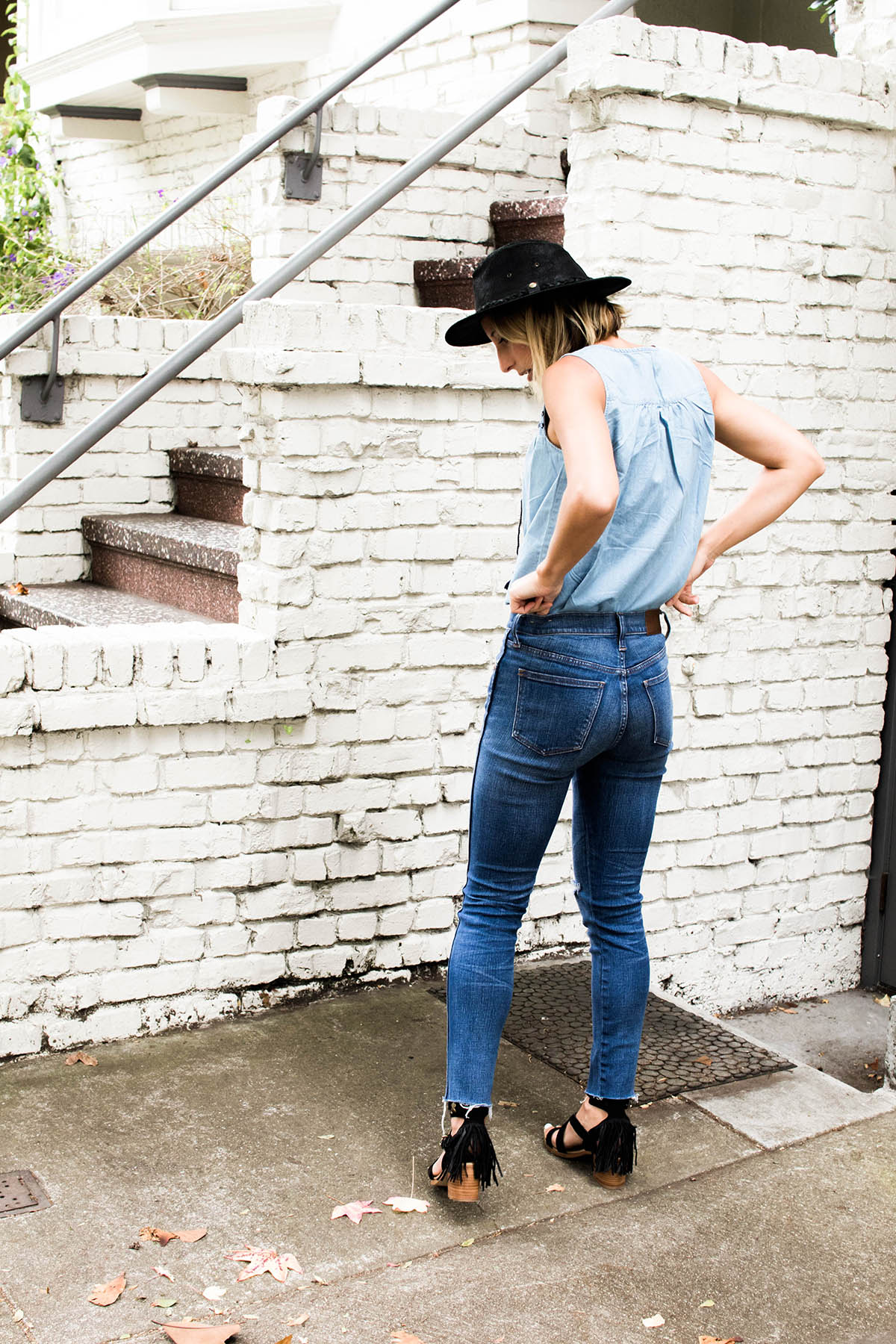 madewell high rise skinny jeans outfit